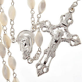 Mother of pearl beads rosary in 925 silver s1