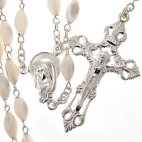 Mother of pearl beads rosary in 925 silver 1