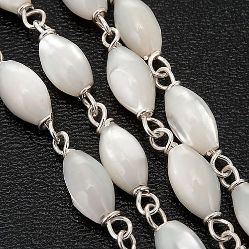Mother of pearl beads rosary in 925 silver 3
