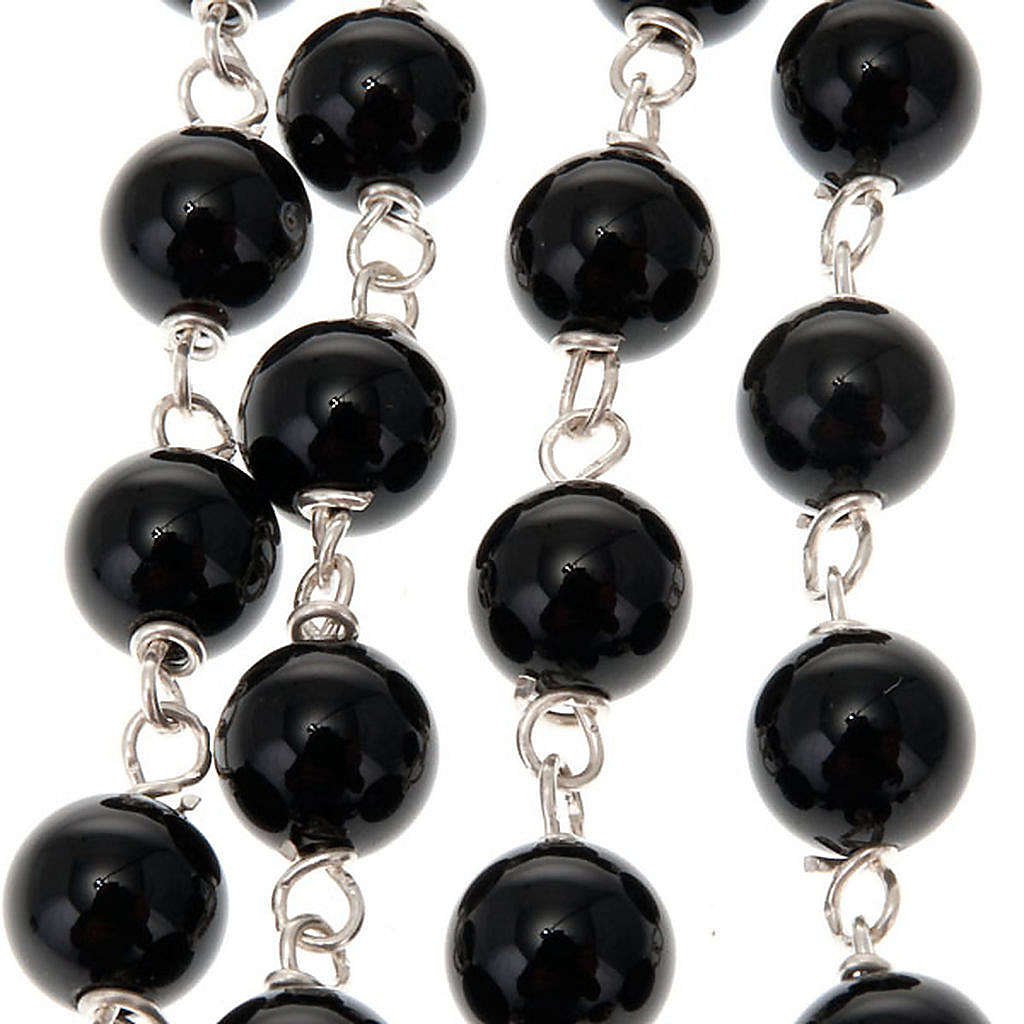 Black onix and silver rosary 4