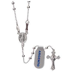 Collar rosario plata 925 cuentas 3 mm s1