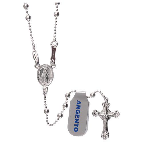 Collar rosario plata 925 cuentas 3 mm 1