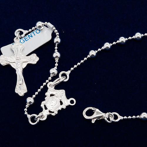 Necklace rosary, 800 silver, 3 mm beads 2