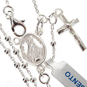Necklace rosary, 925 silver, 2 mm beads s1
