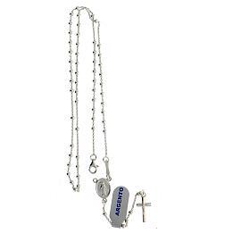 Collar rosario plata 925 cuentas 2 mm s4