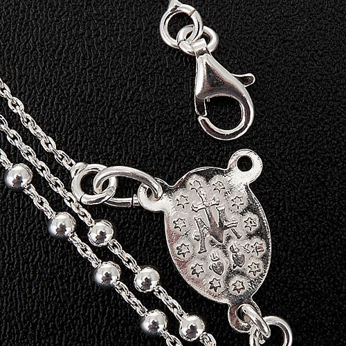 Różaniec naszyjnik srebro 925 paciorki 2 mm 2