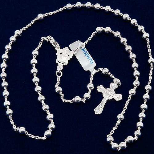 Necklace rosary, 925 silver, 4 mm beads 5