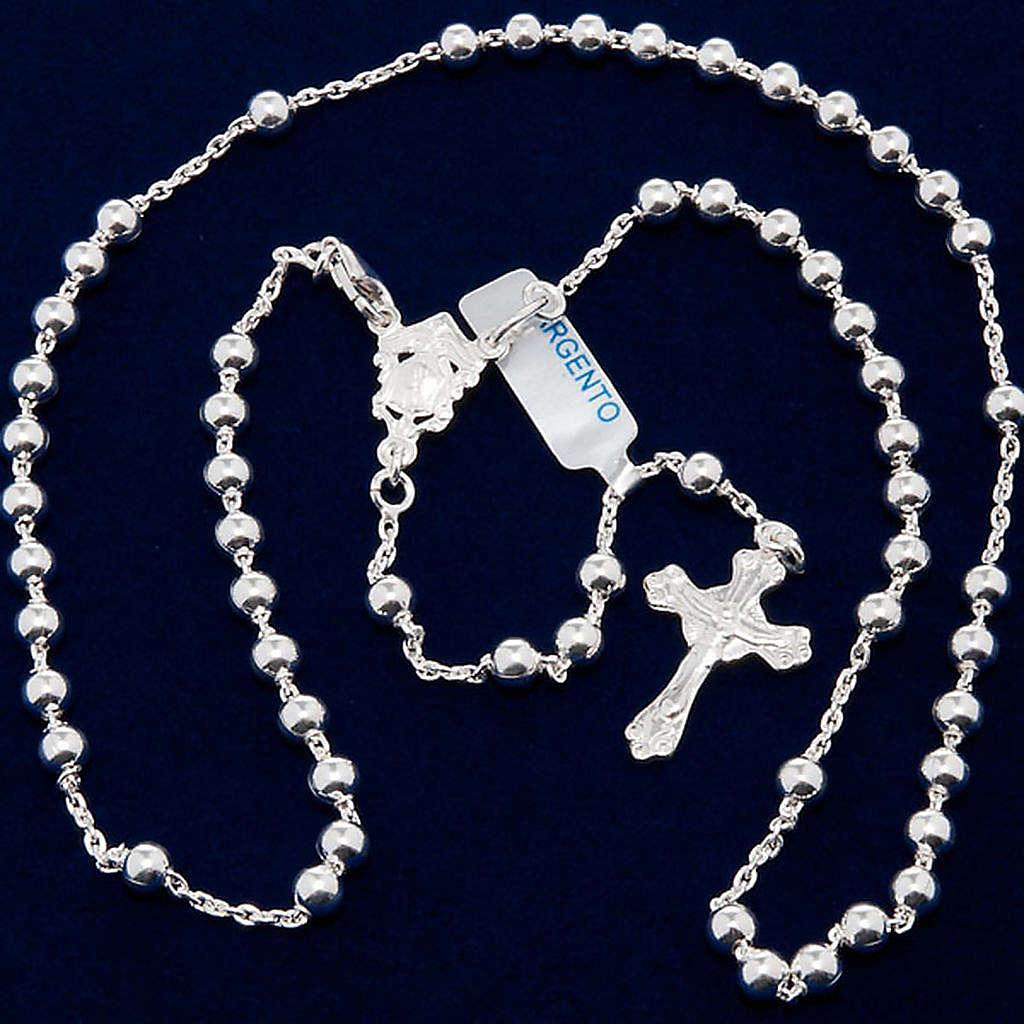 Collar rosario plata 925 cuentas 4 mm 4