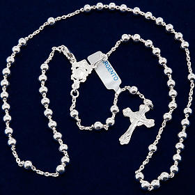Necklace rosary, 925 silver, 4 mm beads s5
