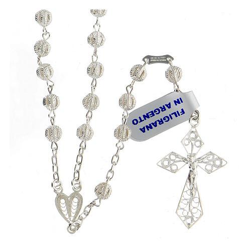 Rosary in silver 800 filigree 1