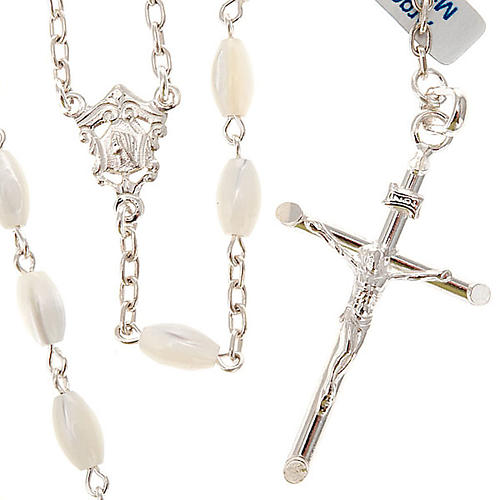 Rosenkranz aus 925er Silber mit länglichen Perlen aus Perlmutt
