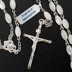 Silver rosary oval nacre bead s3