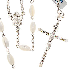 Silver rosary oval nacre bead s1
