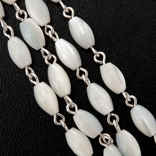 Silver rosary oval nacre bead 2