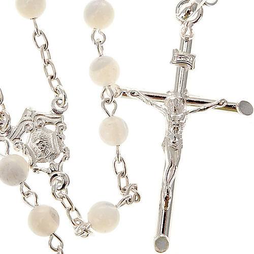 Silver rosary round nacre bead 1