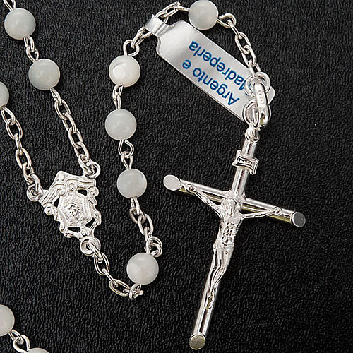 Silver rosary round nacre bead 2