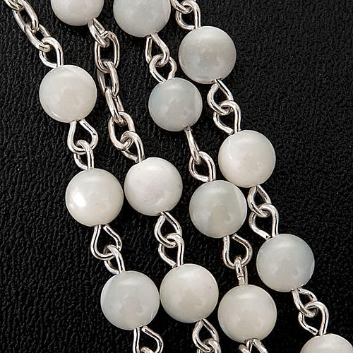 Silver rosary round nacre bead 3