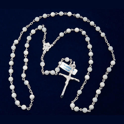 Silver rosary round nacre bead 4