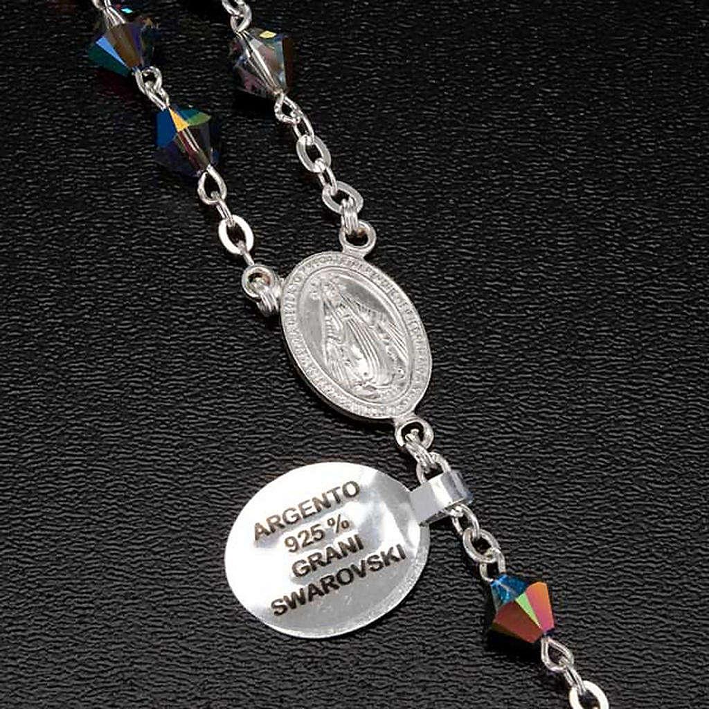 Rosario argento 925 grani swarovski grigio brillante 6 mm 4