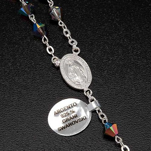 Rosario argento 925 grani swarovski grigio brillante 6 mm 6
