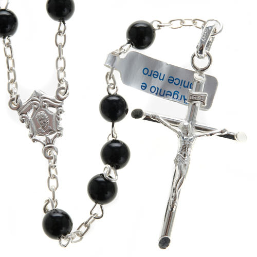 Rosary, 925 silver and onyx, 6mm 1