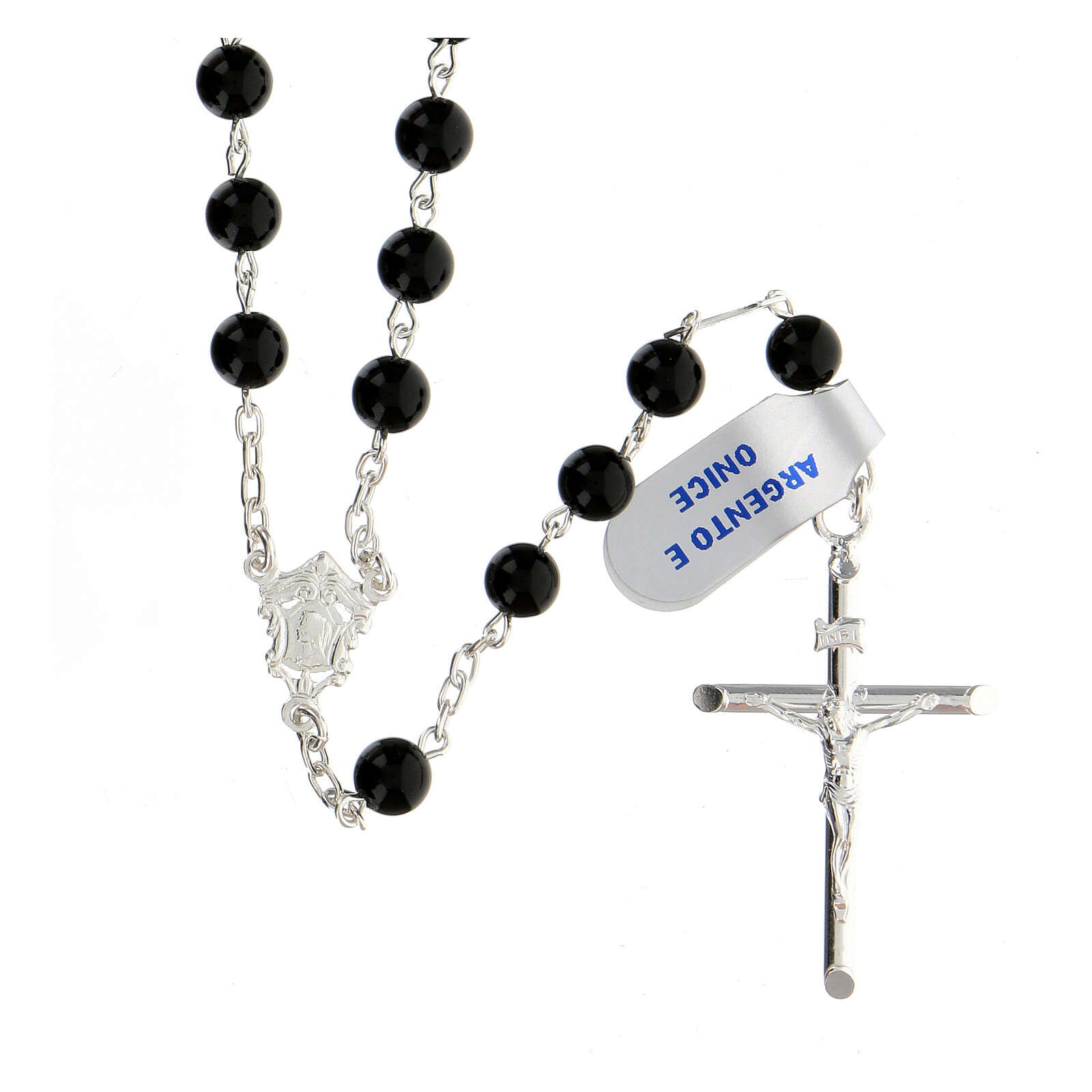 Rosary, 925 silver and onyx, 6mm 4