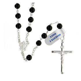 Rosary, 925 silver and onyx, 6mm s1