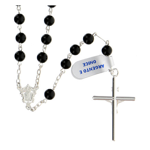 Rosary, 925 silver and onyx, 6mm 2