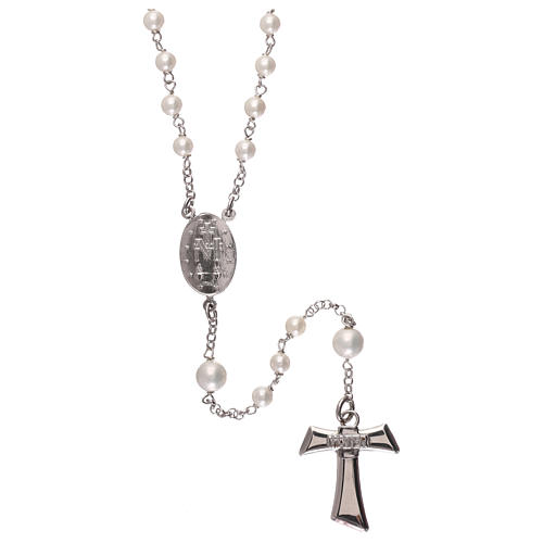 Silver rosary with freshwater pearls and tau cross, MATER jewels 2