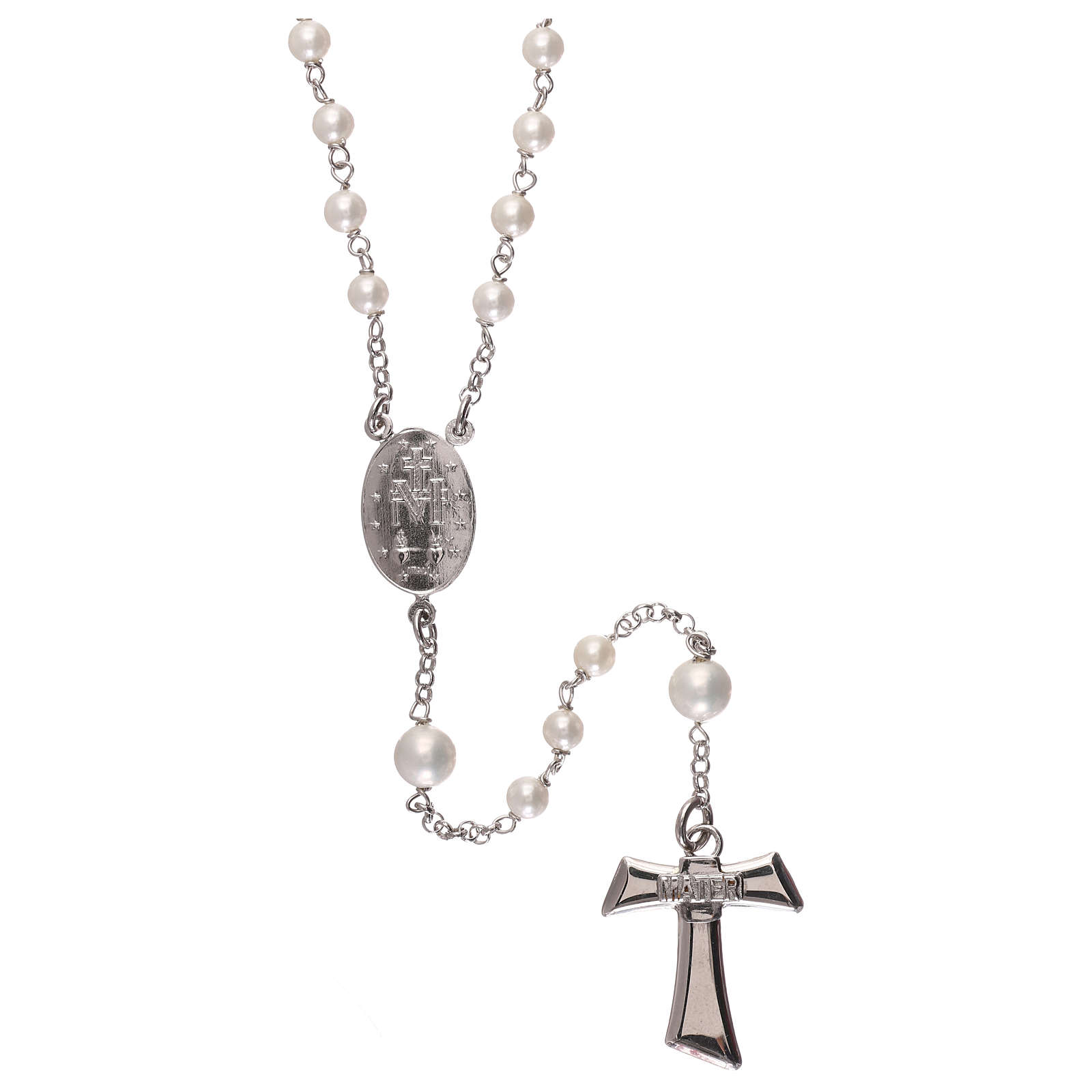 Silver rosary with freshwater pearls and tau cross, MATER jewels 4