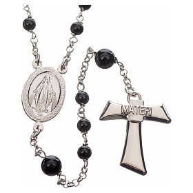 Silver rosary with black freshwater pearls and tau cross, MATER s1
