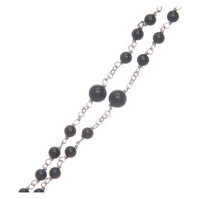 Silver rosary with black freshwater pearls and tau cross, MATER s3