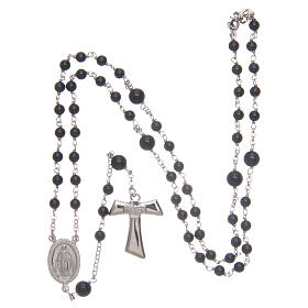 Silver rosary with black freshwater pearls and tau cross, MATER s4