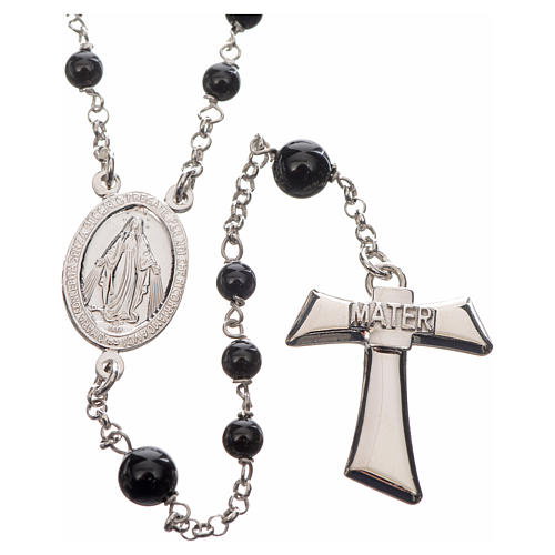 Silver rosary with black freshwater pearls and tau cross, MATER 1