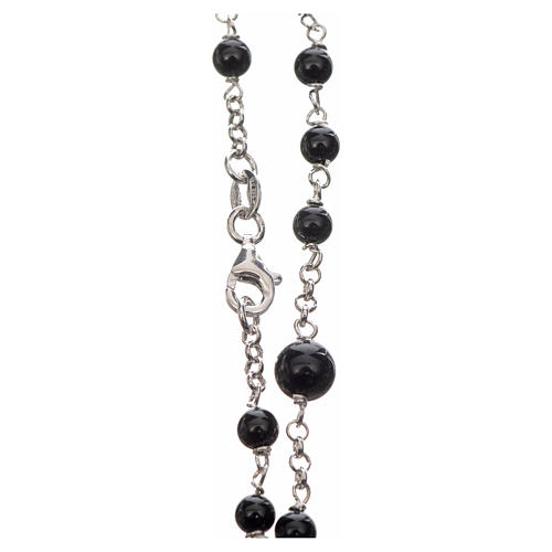 Silver rosary with black freshwater pearls and tau cross, MATER 3