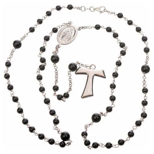 Silver rosary with black freshwater pearls and tau cross, MATER 4
