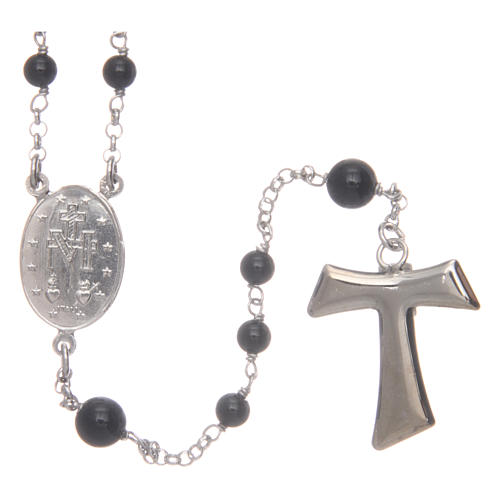 Silver rosary with black freshwater pearls and tau cross, MATER 2