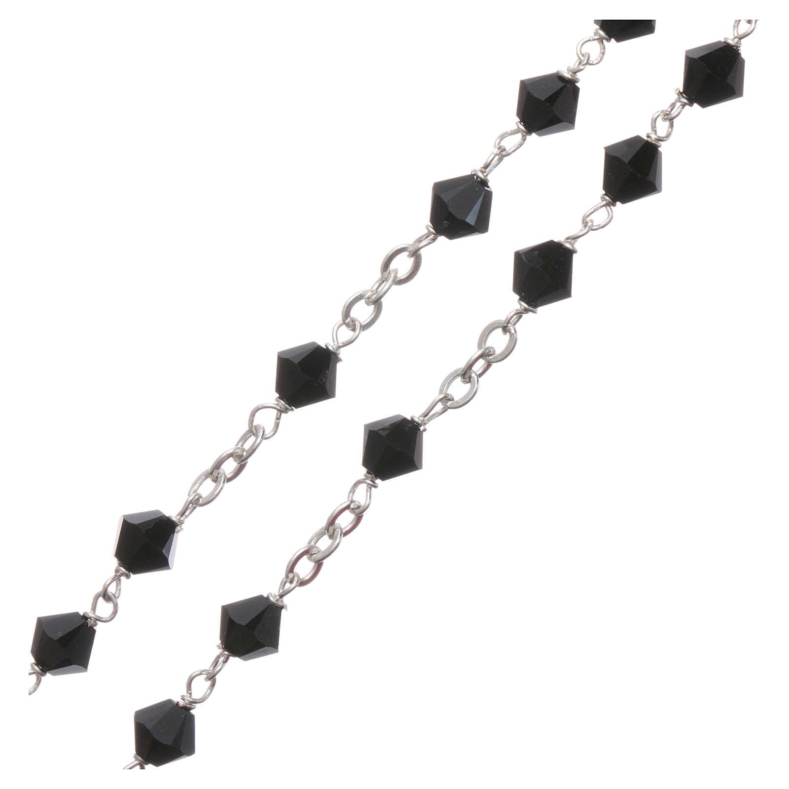 Rosary beads in silver and Swarovski 0,2in black 4