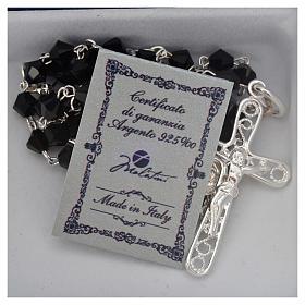 Rosary beads in silver and Swarovski 0,2in black s5
