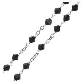 Rosary beads in silver and Swarovski 0,2in black s8