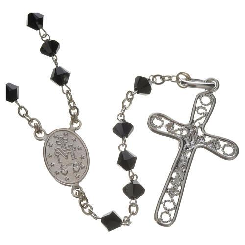 Rosary beads in silver and Swarovski 0,2in black 2