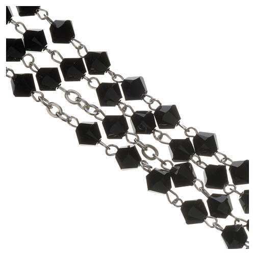 Rosary beads in silver and Swarovski 0,2in black 3