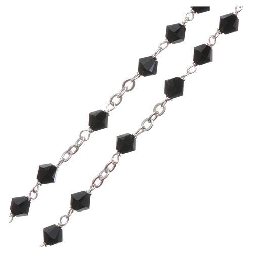 Rosary beads in silver and Swarovski 0,2in black 8