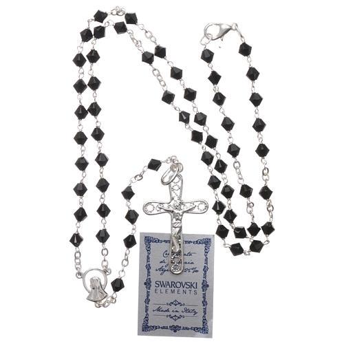 Rosary beads in silver and Swarovski 0,2in black 9