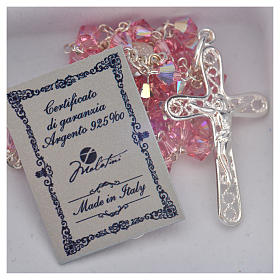Rosary beads in silver and Swarovski 0,2in pink s5
