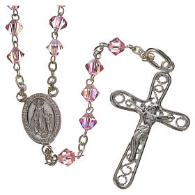 Rosary beads in silver and Swarovski 0,2in pink s1
