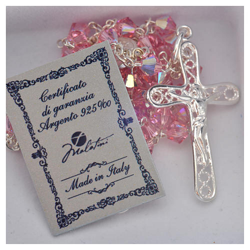 Rosary beads in silver and Swarovski 0,2in pink 5