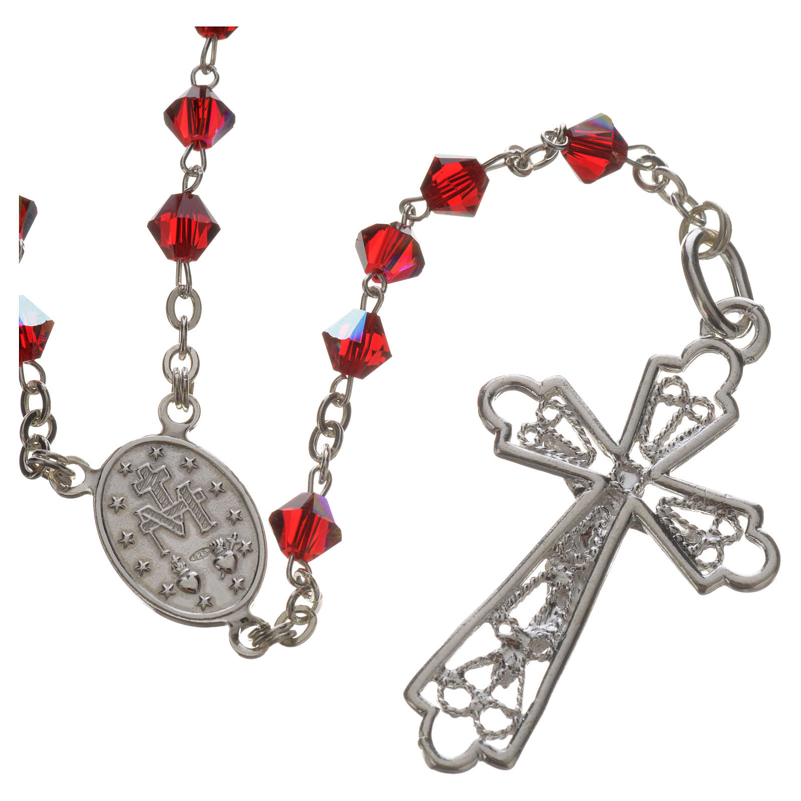 Rosary beads in silver and Swarovski 0,2in red 4
