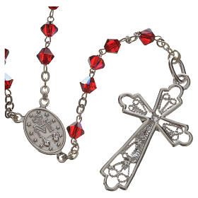 Rosary beads in silver and Swarovski 0,2in red s2