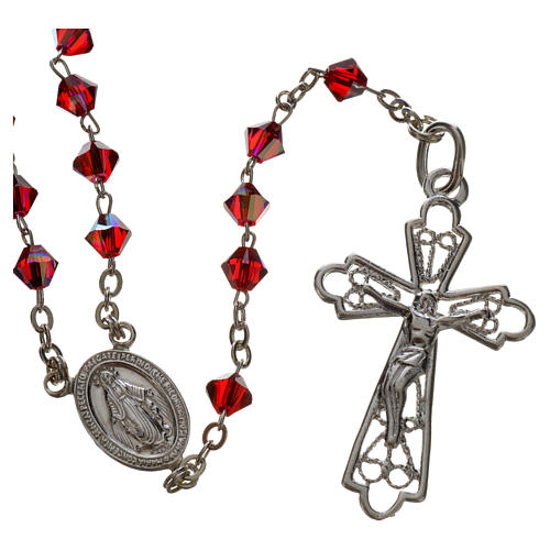 Rosary beads in silver and Swarovski 0,2in red 1